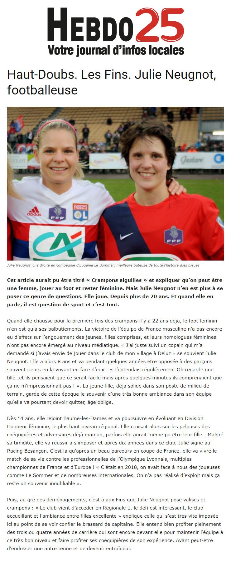 Interview Julie Neugnot capitaine de l'équipe de football séniors féminine US Les Fins